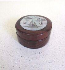 TEMA orientale/cinese laccato round wood box A CERNIERA COLORE MADREPERLA