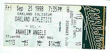 Kenny Rogers win, Miguel Tejada home run ticket stub; Angels at A's 9/25/1998