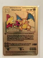 Pokemon 1st Edition Charizard Shadowless Gold Metal Card