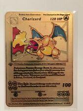 Pokemon 1st Edition Charizard Shadowless Gold Metal Custom Card