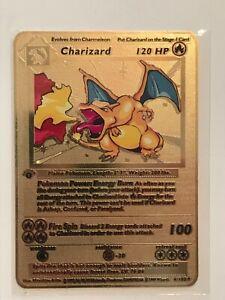 Pokemon 1st Edition Charizard Shadowless Gold Metal Card