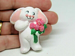 Easter Unlimited Vintage Bunny Rabbit Holiday Brooch Pin Flowers