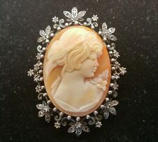 Sterling Silver Cameo With Diamonds