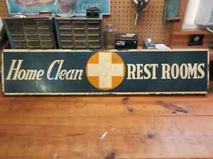 Original 1938 Shell Oil Sign Gas Station Hospital Clean Restrooms Flanged Sign