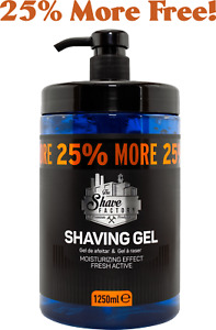 The Shave Factory Shaving Gel | Luxury Lubrication | Fresh | Active Men | 1250Ml