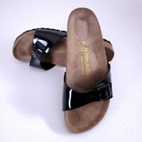 Birkenstock Women's Birko Flor Black Patent Slide Sandals Size 7