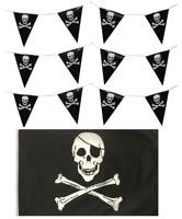 4 Metre PIRATE JOLLY ROGER SKULL & CROSSBONES BUNTING & 5ft x 3ft FLAG PARTY SET