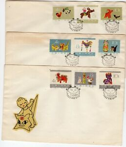 CHINA , 1963 , TOYS , full set on THREE FIRST DAY COVERS , LOOK !