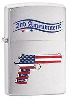 Zippo Lighter: Second Amendment Gun and American Flag - Brushed Chrome 79545