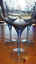 Large Blue Goblets Stems Margarita Glasses ribbed stem 3 16oz NWT