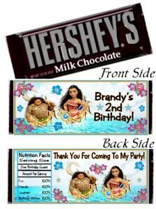 12 Moana Maui Birthday Party OR Baby Shower Hershey Candy Bar Wrappers Princess