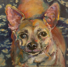 """Chihuahua Dog 8""""x8"""" Limited Edition Oil Painting Print Signed Art by Artist"""