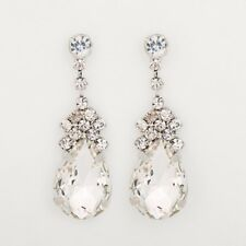 Classic Cluster Rhinestone Crystal Sparkle Clear Pear Drop Women's Earrings Gift