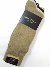 Gold Toe Mens Socks Crew Khaki & Brown 3 Pair Big & Tall XL Shoe Sz 12 - 16