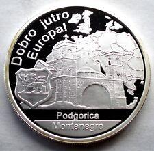 MONTENEGRO PODGORICA Dobro Jutro Europa! BU Proof Silver Medal 40mm + COA C91