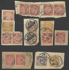 CHINA 1898-1900 collection early Coiling Dragon stamps on piece, POSTMARK/CANCEL