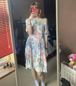 Vintage Retro Floral Pink 90s Tea Dress Midi Hippie Boho Grunge