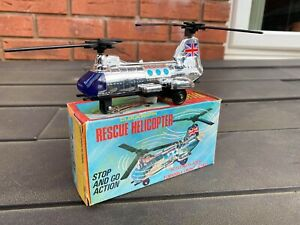 Vintage Made In Hong Kong No 752 Rescue Helicopter In Original Box - Near Mint