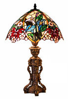 "Floral Table Lamp Stained Glass 23""H Light Lamps NEW"