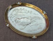Ancien cendrier laiton estampé décor coq
