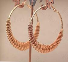 18K Gold Filled Earring Swirl Spring Whirlwind Hollow Ear Stud Hoop Bohemia DS