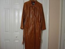 WILSON'S MAXIMA BUTTERSCOTCH BROWN FULL LENGTH LEATHER COAT SIZE LG EUC