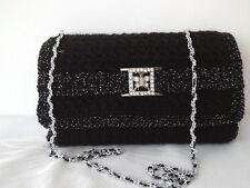 Women Handbag Wedding Party Prom Shoulder Evening Clutch Black With Silver Clasp
