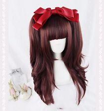 Harajuku Lolita Wine Red Gradient Wig Full Long Hair Cosplay Women Fashion Cute
