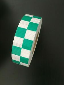 Reflective Chequered Safety Tape Green/White High Intensity Hi Viz Vinyl 50mmx6M