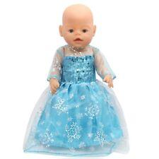 Puppenkleidung, Kleid, Eiskönigin, 43 Cm, zb. Baby Born/Sister, blau, NEU