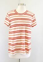 NWT Madewell Hi Fi Shrunken Knit Striped Crewneck T Shirt Tee Sz L Cream Orange