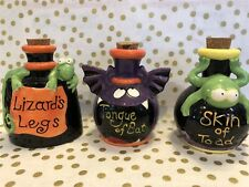 Lot of 3 Halloween Potion Bottles With Corks Lizard Toad Bat