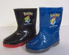 Niños Negro y azul Pokemon Gomilla Wellington Botas Gran Precio