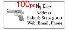 100 Personalised return address label custom sticky mailing sticker 56x25mm gun