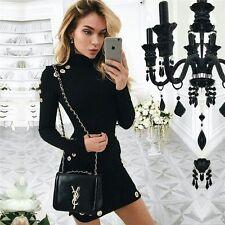 Damen Plus-Samt Langarm Minikleid Schlank Bodycon Bleistiftkleid Mode Kleid S-XL