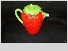 Tall Strawberry Shaped Ceramic Teapot