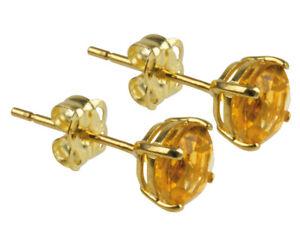 100% Genuine BRAND NEW 9K Y Gold 1.0cts Topaz Stud Earrings. November Birthstone