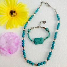 Womens Turquoise Gemstone silver Necklace and Bracelet jewelry set /Jordan /New