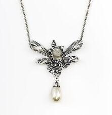 9901226 925er Silber Jugendstil Collier Gesicht m. Perle L42cm