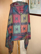Aztec Festival Navaho WRAP PONCHO South American Mexican Blanket Cape with Hood