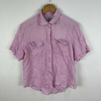Robert Burton Womens Vintage Linen Shirt Top Size 14 Pink Short Sleeve Button Up