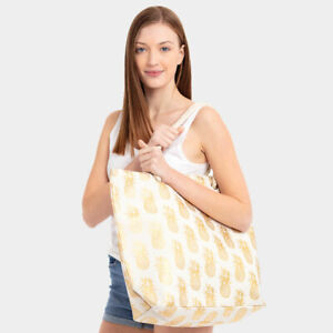 NEW White Canvas Gold Foil Pineapple Fruit Print Purse Tote Travel Shopping Bag
