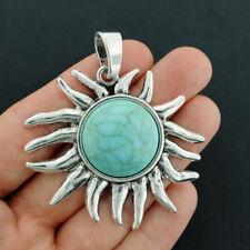 Sun Charm Antique Silver Tone Imitation Turquoise Stone  - SC7003