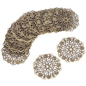50PCS Bronze Filigree Flower Connectors Crafts DIY Jewelry Making AccessoriD_cd