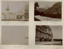 Suisse, L'Eglise de Zermatt, Lac de Genève, Palais fédéral Lausanne  Vintag