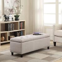 "NEW 48"" Rectangular Storage Ottoman Bench Linen Tufted Natural Footrest Lift Top"