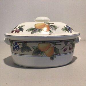 Mikasa Intaglio CAC29 Ceramic Garden Harvest Oval Casserole Dish #403