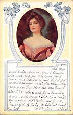 MAXINE-BEAUTIFUL WOMAN IN VICTORIAN ATTIRE-GREETINGS POSTCARD 1921