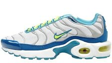 NEW NIKE AIR MAX PLUS GS sz 3.5Y WHITE BLUE VOLT SILVER Running SHOES SNEAKERS