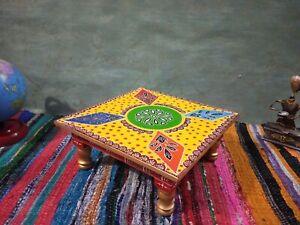 Gelb Holz Handwerk Bajot Tisch Wohndeko Puja Tempel Handbemalt Chowki